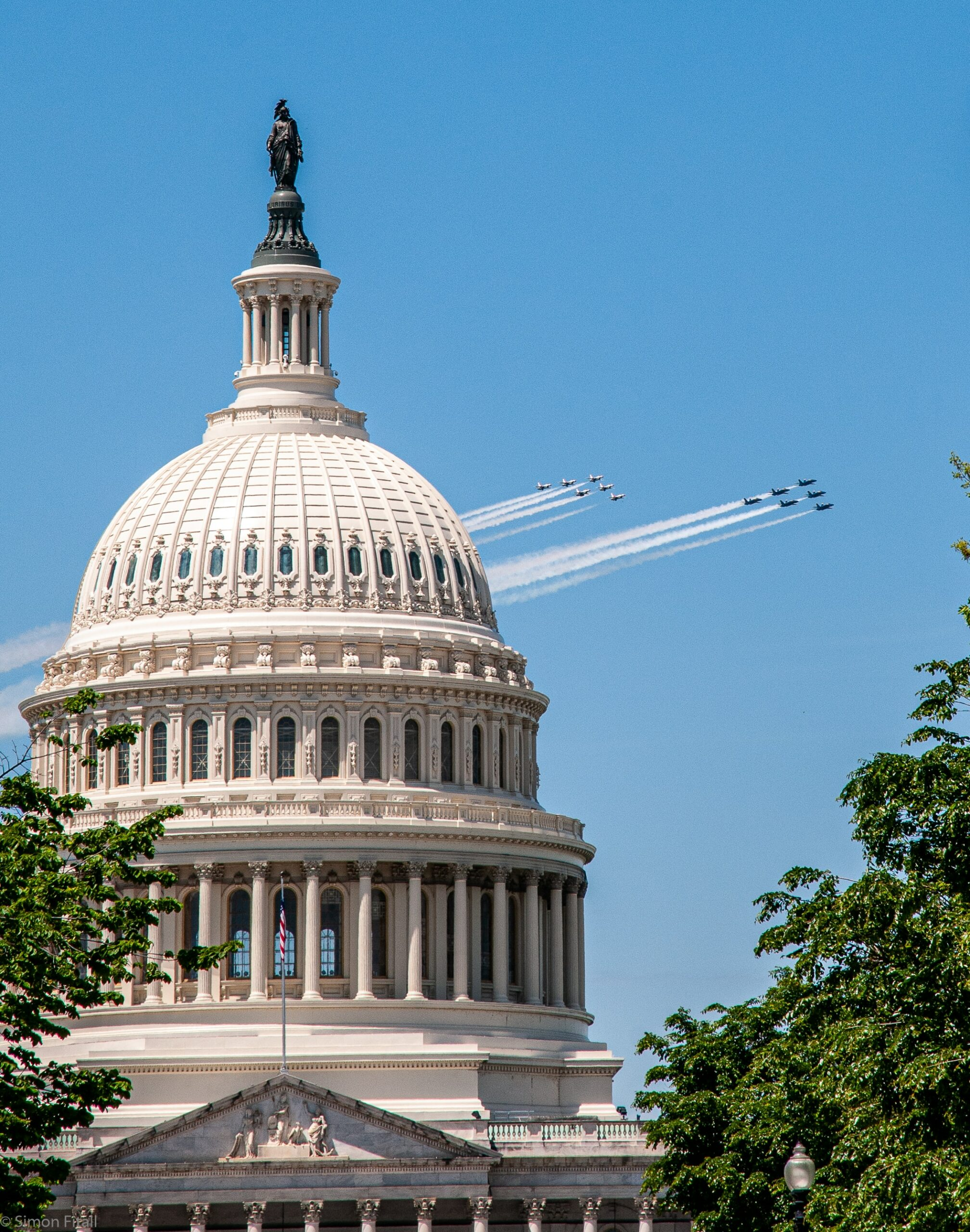 US Navy Blue angels and US Air Force Thunderbirds flypast the US Capitol Building, May 2nd, 2020.